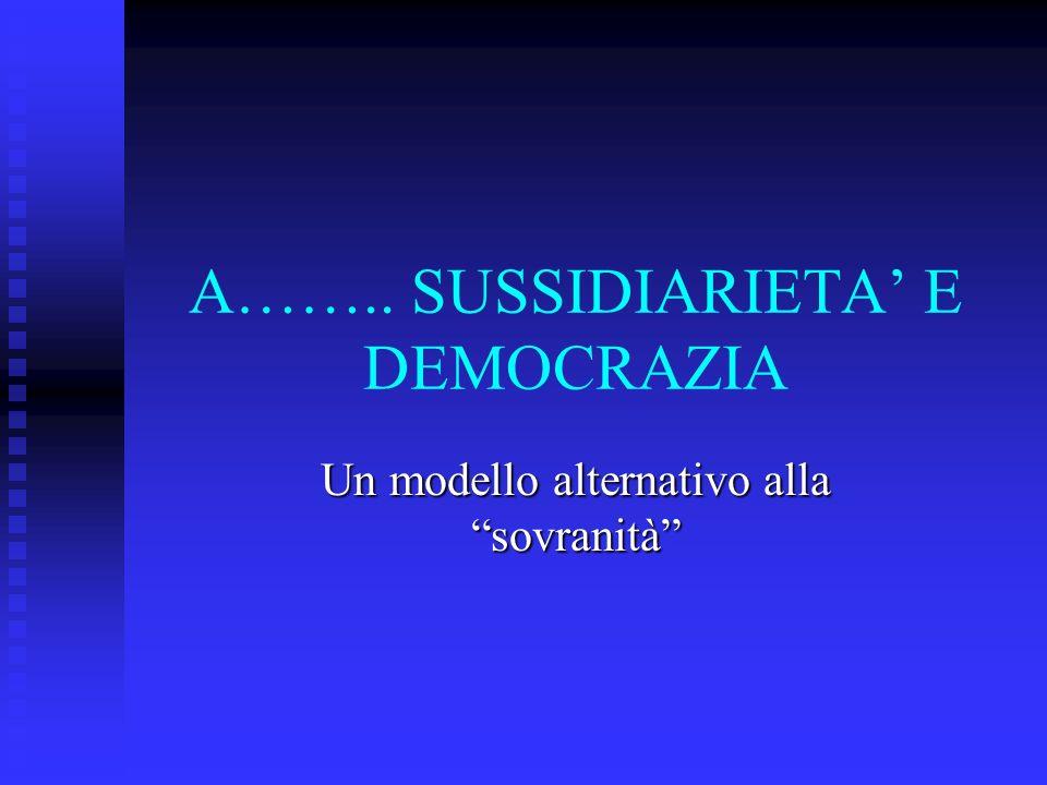 A…….. SUSSIDIARIETA' E DEMOCRAZIA