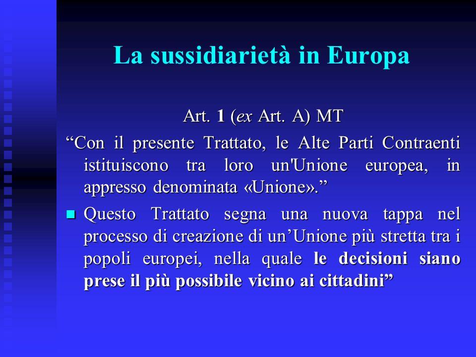 La sussidiarietà in Europa