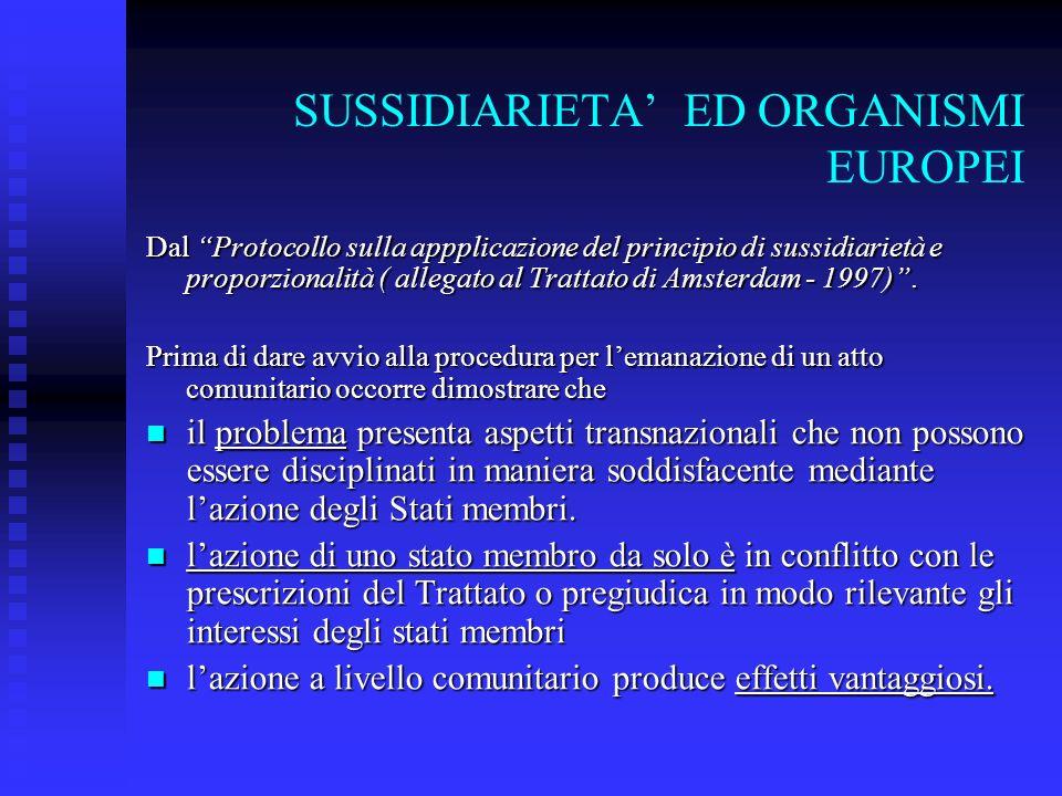 SUSSIDIARIETA' ED ORGANISMI EUROPEI