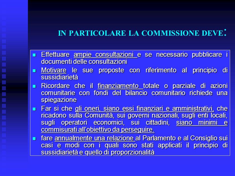 IN PARTICOLARE LA COMMISSIONE DEVE: