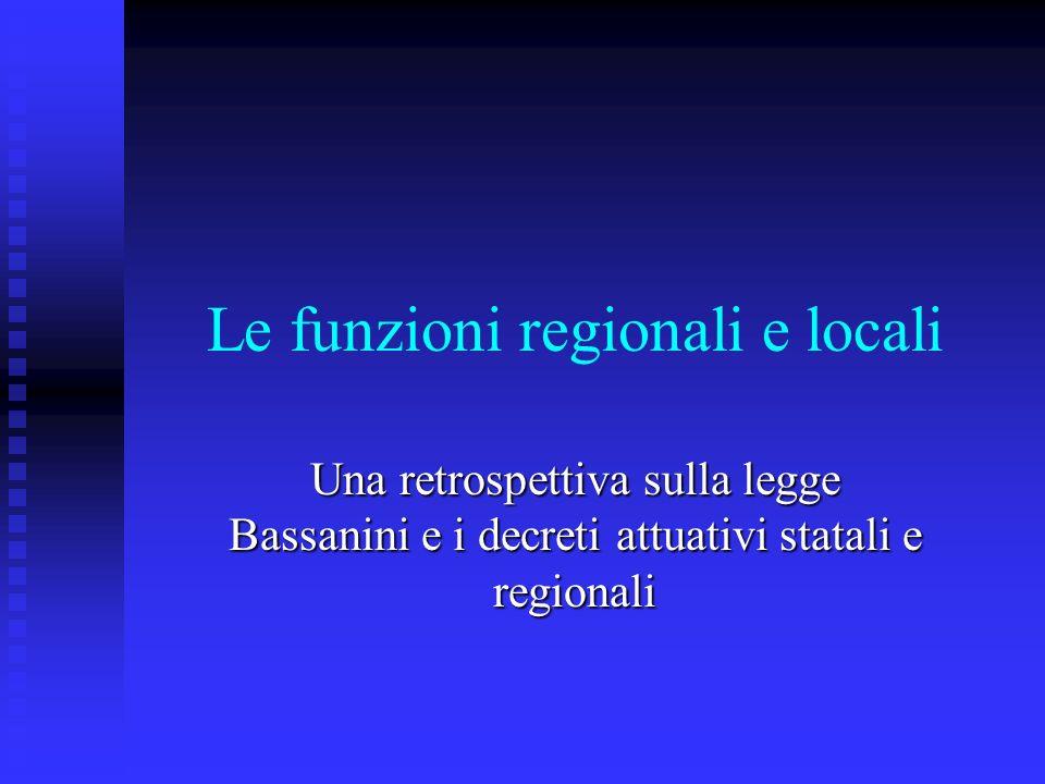 Le funzioni regionali e locali