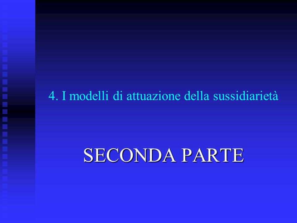 4. I modelli di attuazione della sussidiarietà