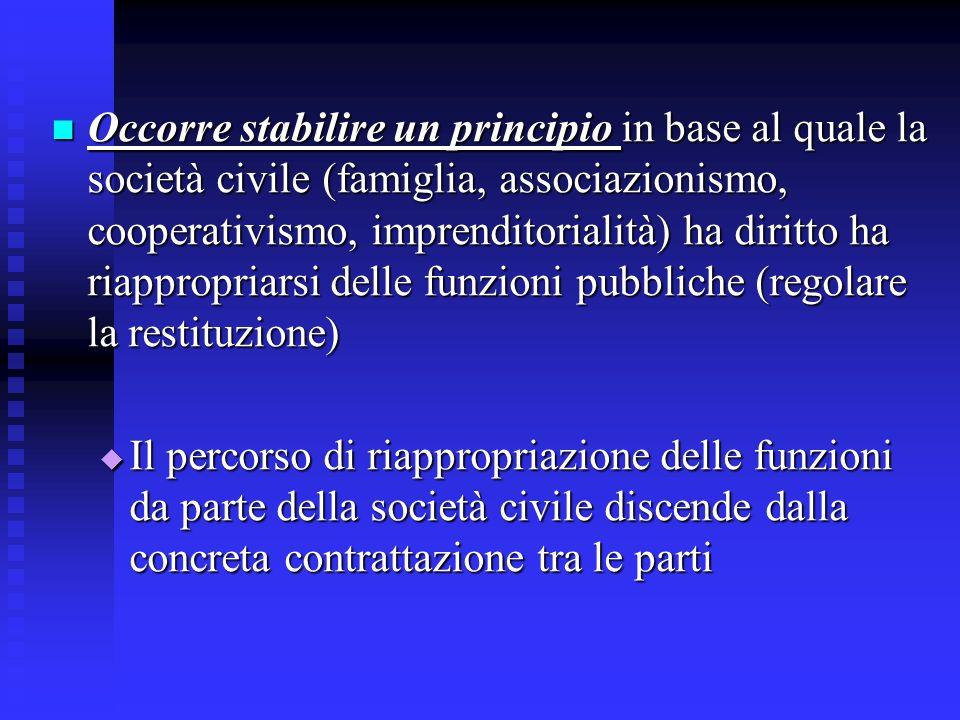Occorre stabilire un principio in base al quale la società civile (famiglia, associazionismo, cooperativismo, imprenditorialità) ha diritto ha riappropriarsi delle funzioni pubbliche (regolare la restituzione)