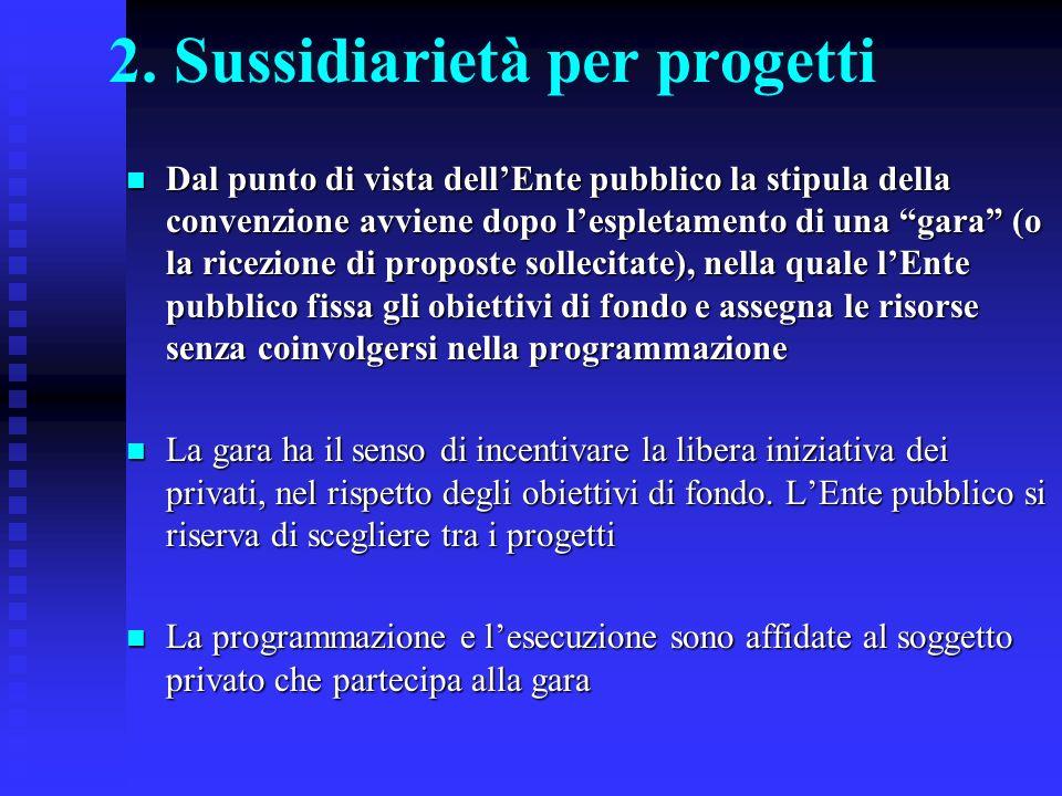 2. Sussidiarietà per progetti