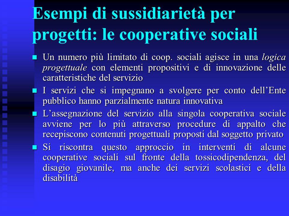 Esempi di sussidiarietà per progetti: le cooperative sociali