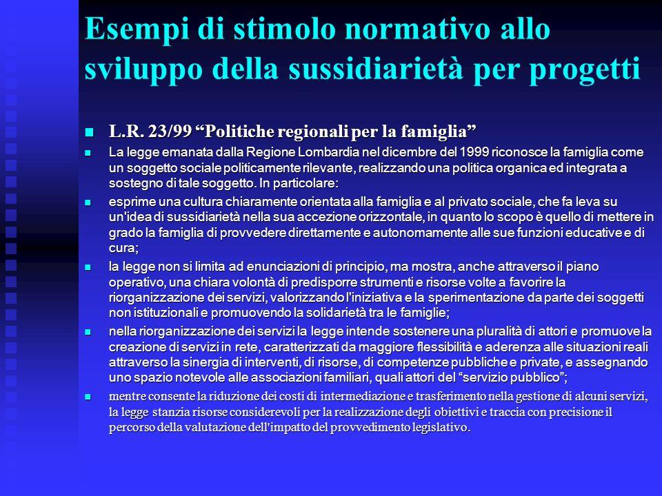 Esempi di stimolo normativo allo sviluppo della sussidiarietà per progetti