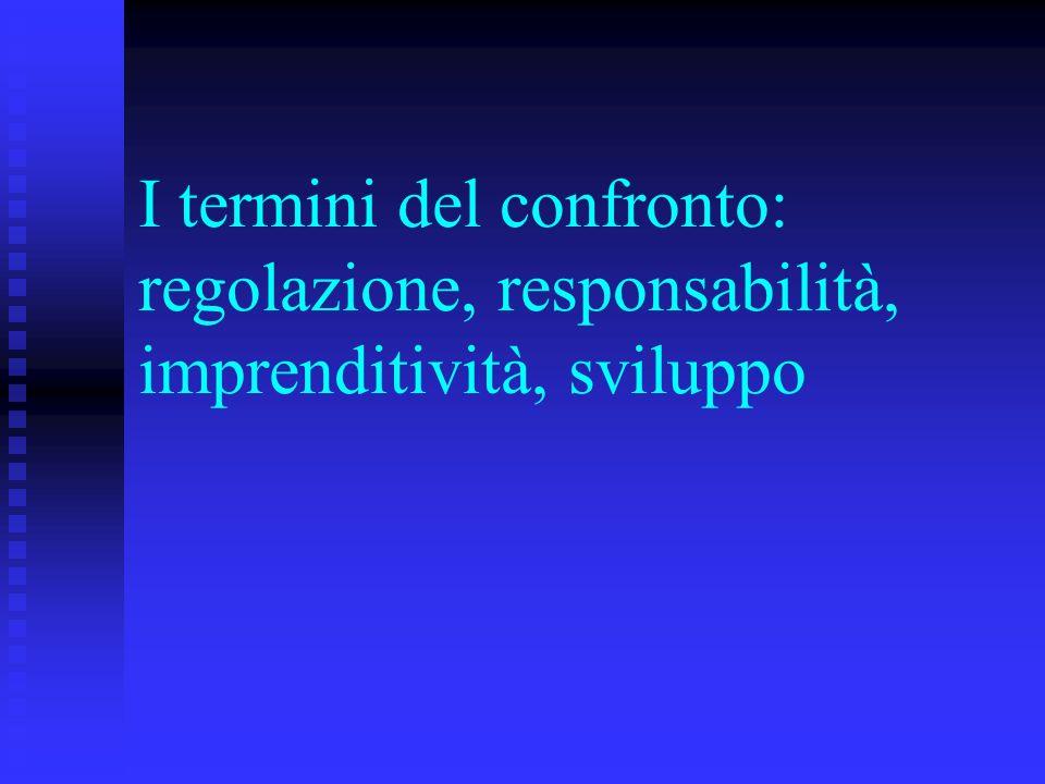 I termini del confronto: regolazione, responsabilità, imprenditività, sviluppo