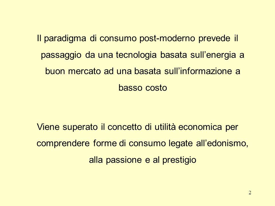 Il paradigma di consumo post-moderno prevede il passaggio da una tecnologia basata sull'energia a buon mercato ad una basata sull'informazione a basso costo