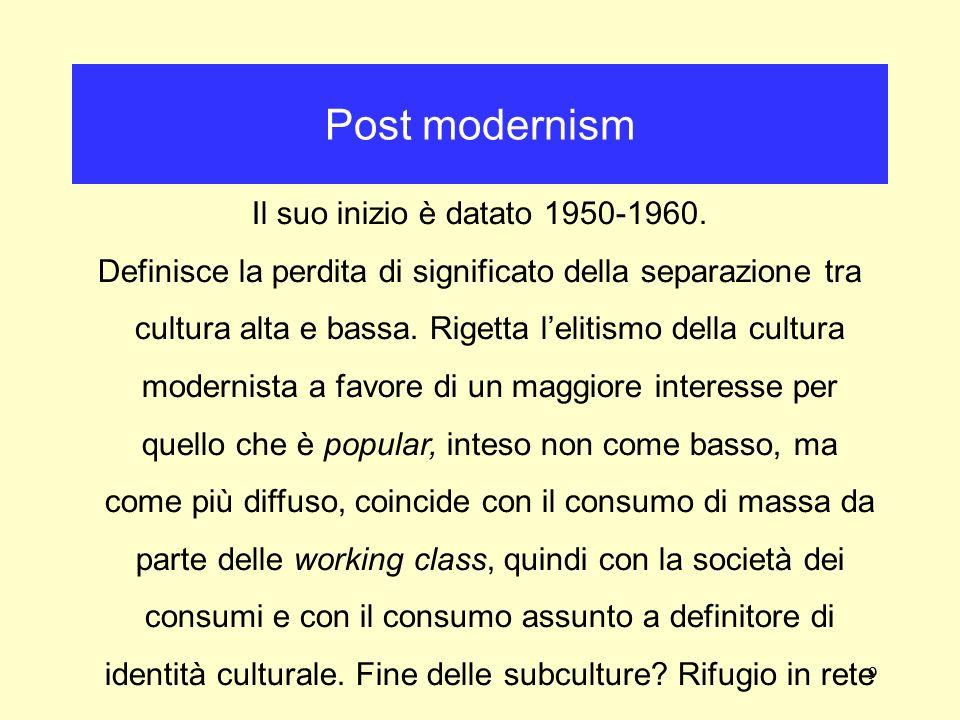 Post modernism Il suo inizio è datato 1950-1960.