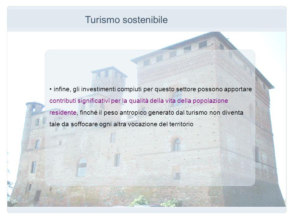Turismo sostenibile infine, gli investimenti compiuti per questo settore possono apportare.