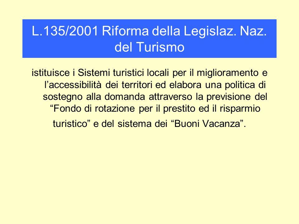 L.135/2001 Riforma della Legislaz. Naz. del Turismo