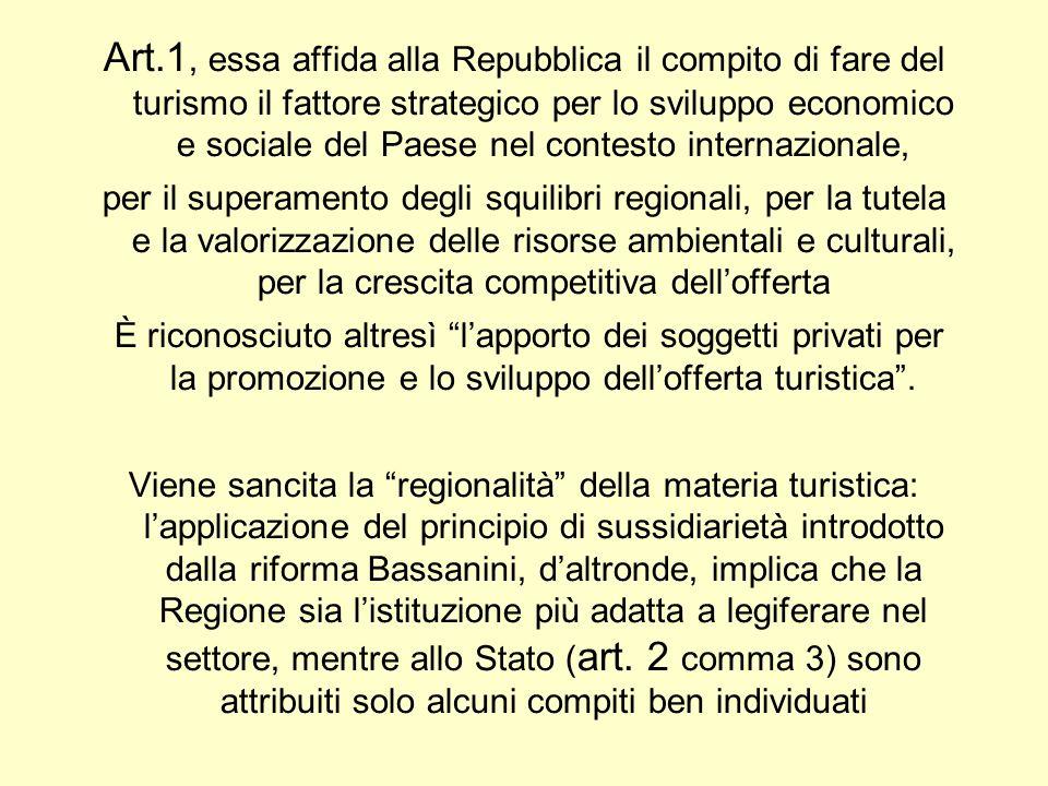 Art.1, essa affida alla Repubblica il compito di fare del turismo il fattore strategico per lo sviluppo economico e sociale del Paese nel contesto internazionale,