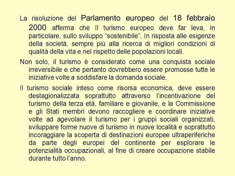 La risoluzione del Parlamento europeo del 18 febbraio 2000 afferma che Il turismo europeo deve far leva, in particolare, sullo sviluppo sostenibile .