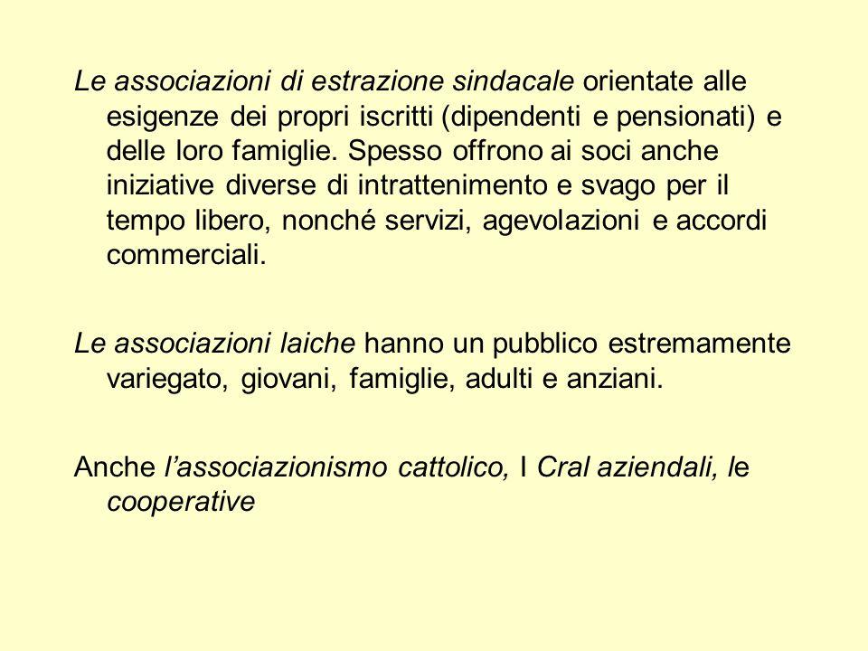 Le associazioni di estrazione sindacale orientate alle esigenze dei propri iscritti (dipendenti e pensionati) e delle loro famiglie.