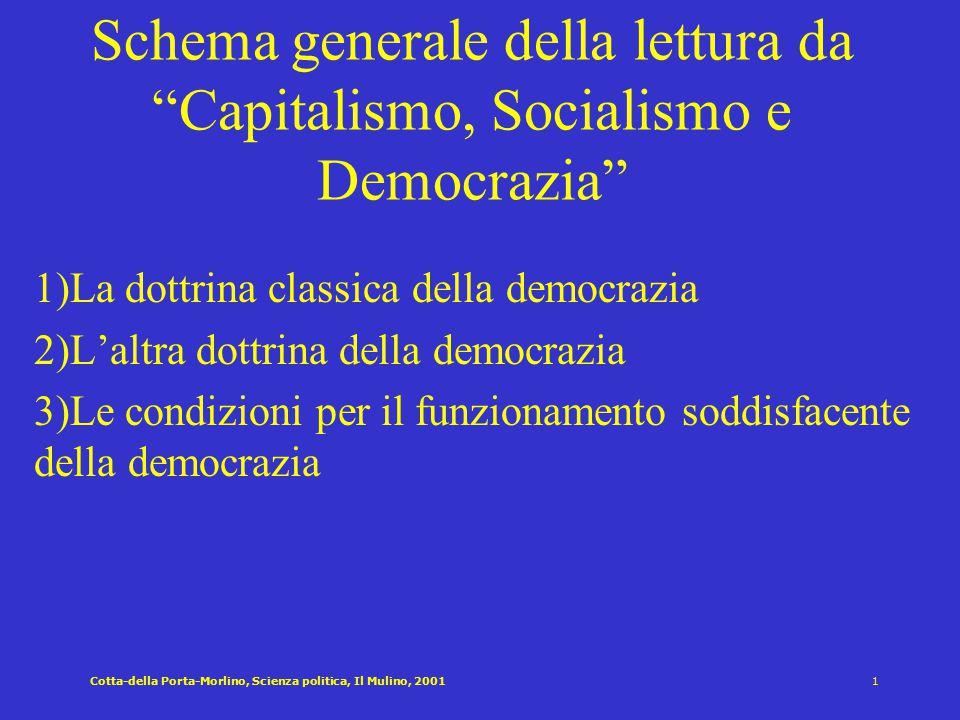Schema generale della lettura da Capitalismo, Socialismo e Democrazia