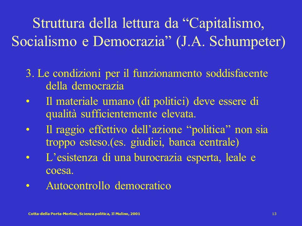Struttura della lettura da Capitalismo, Socialismo e Democrazia (J.A. Schumpeter)