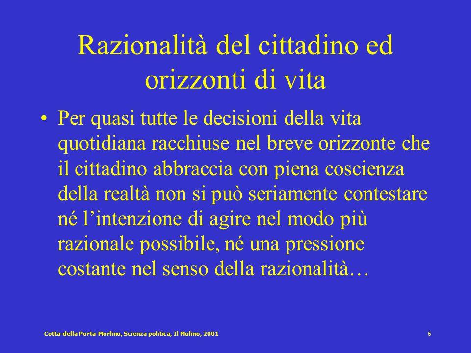 Razionalità del cittadino ed orizzonti di vita