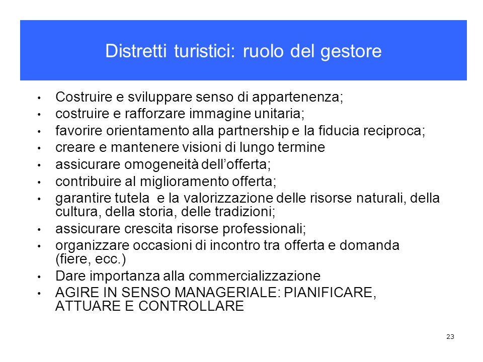 Distretti turistici: ruolo del gestore