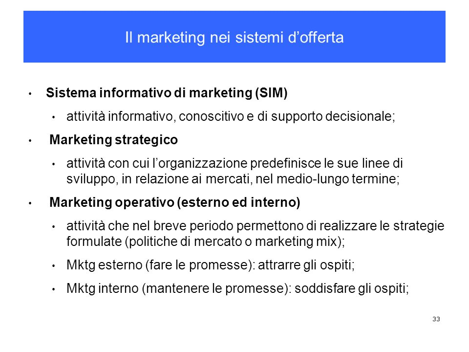 Il marketing nei sistemi d'offerta