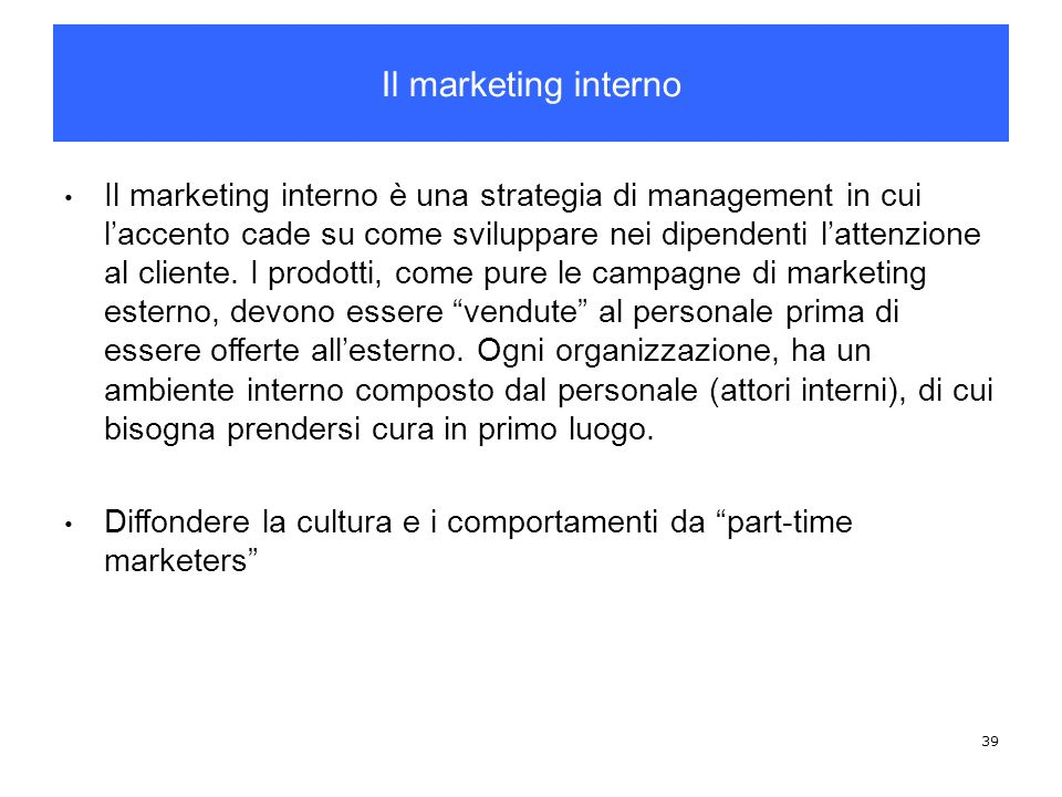 Il marketing interno