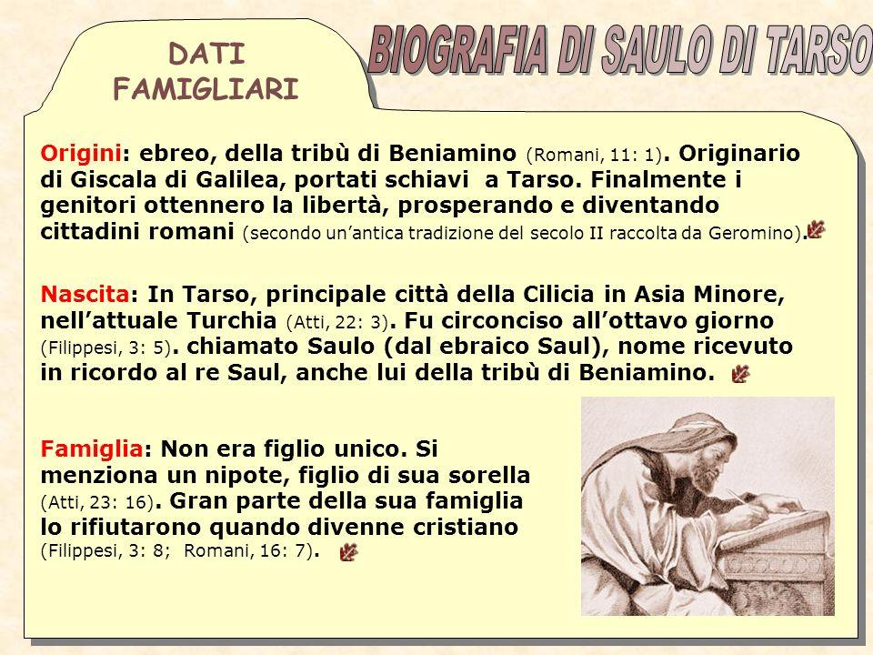 BIOGRAFIA DI SAULO DI TARSO
