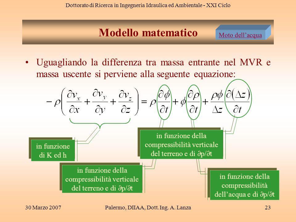 Modello matematico Moto dell'acqua. Uguagliando la differenza tra massa entrante nel MVR e massa uscente si perviene alla seguente equazione: