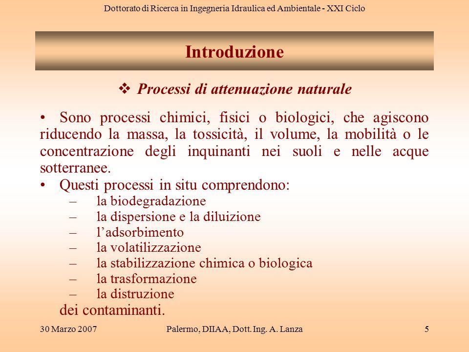 Dottorato di Ricerca in Ingegneria Idraulica ed Ambientale - XIX Ciclo