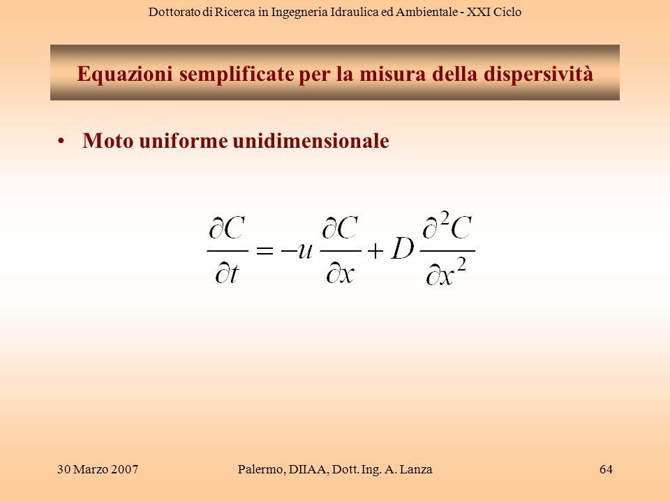 Equazioni semplificate per la misura della dispersività