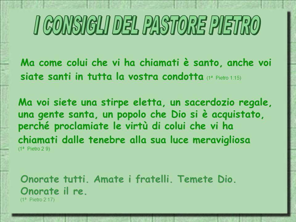 I CONSIGLI DEL PASTORE PIETRO