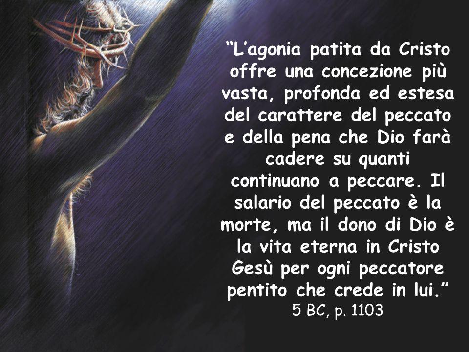 L'agonia patita da Cristo offre una concezione più vasta, profonda ed estesa del carattere del peccato e della pena che Dio farà cadere su quanti continuano a peccare.