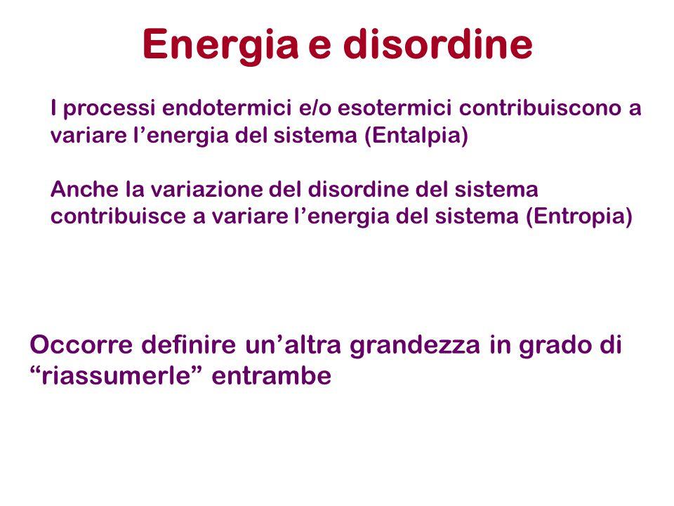 Energia e disordine I processi endotermici e/o esotermici contribuiscono a variare l'energia del sistema (Entalpia)