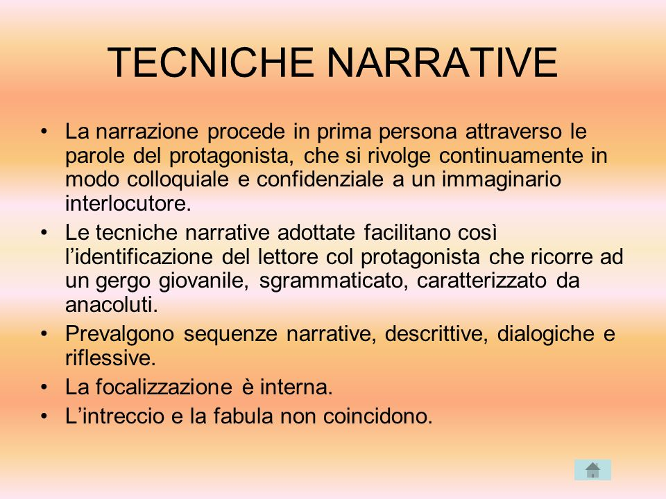 TECNICHE NARRATIVE