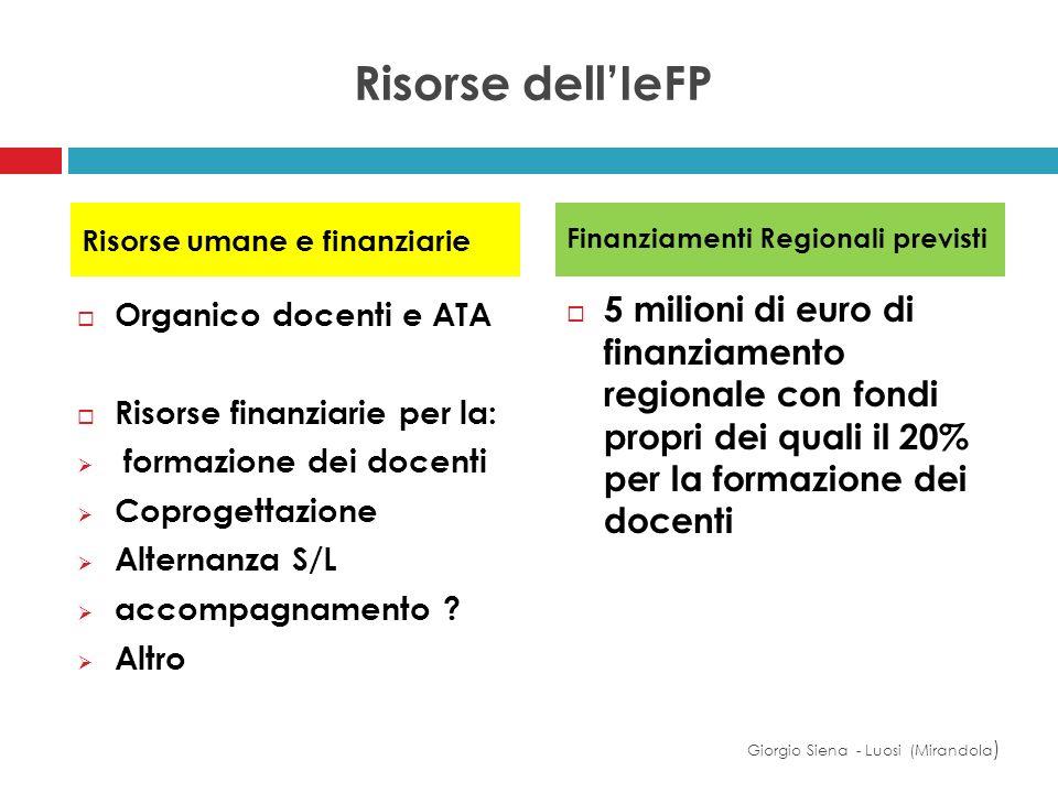 Risorse dell'IeFP Risorse umane e finanziarie. Finanziamenti Regionali previsti.
