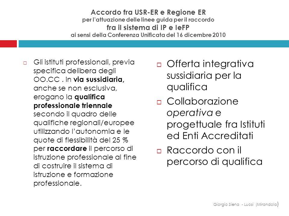 Offerta integrativa sussidiaria per la qualifica