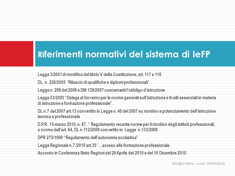 Riferimenti normativi del sistema di IeFP