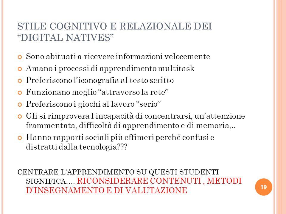 Nativi digitali (i nostri studenti) Immigrati digitali (noi prof!)