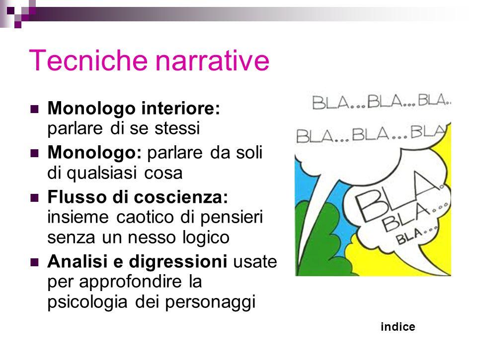 Tecniche narrative Monologo interiore: parlare di se stessi