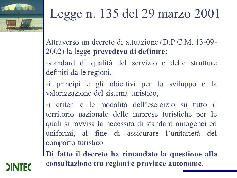 Legge n. 135 del 29 marzo 2001 Attraverso un decreto di attuazione (D.P.C.M. 13-09-2002) la legge prevedeva di definire: