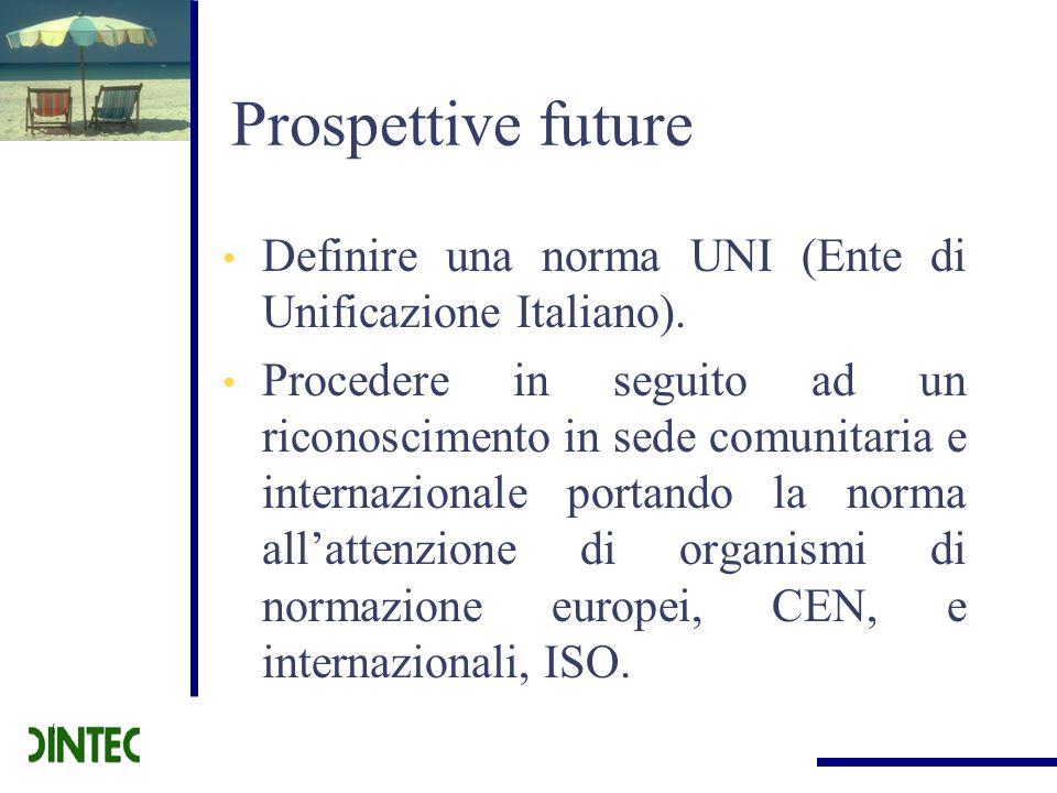 Prospettive futureDefinire una norma UNI (Ente di Unificazione Italiano).