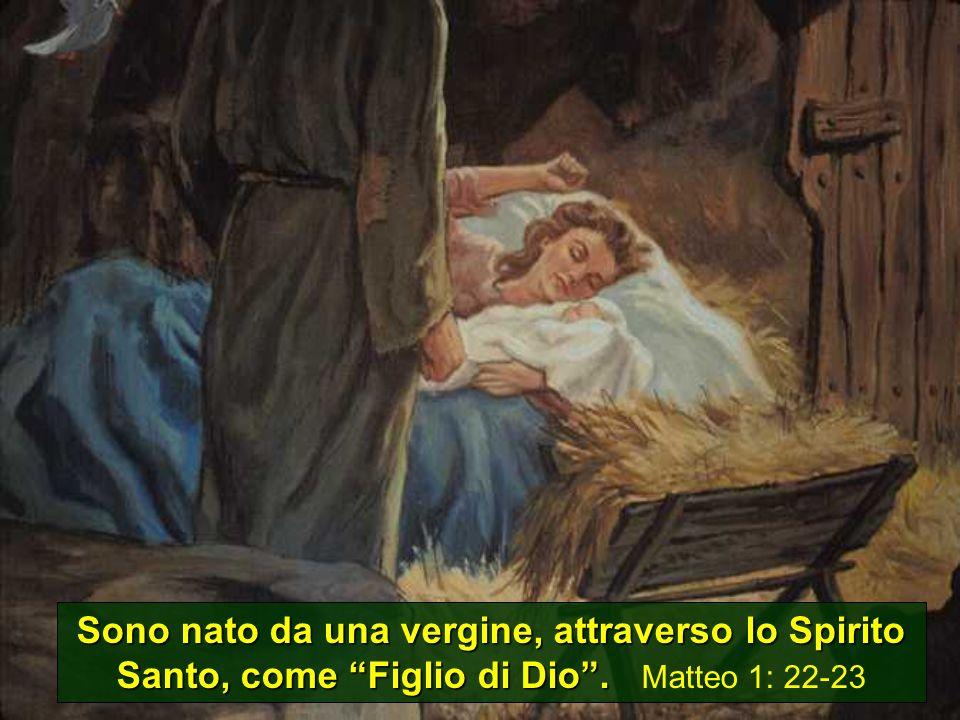 Sono nato da una vergine, attraverso lo Spirito Santo, come Figlio di Dio . Matteo 1: 22-23