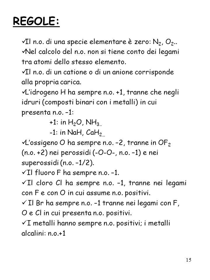 REGOLE: Il n.o. di una specie elementare è zero: N2, O2..