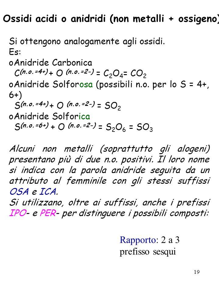Ossidi acidi o anidridi (non metalli + ossigeno)
