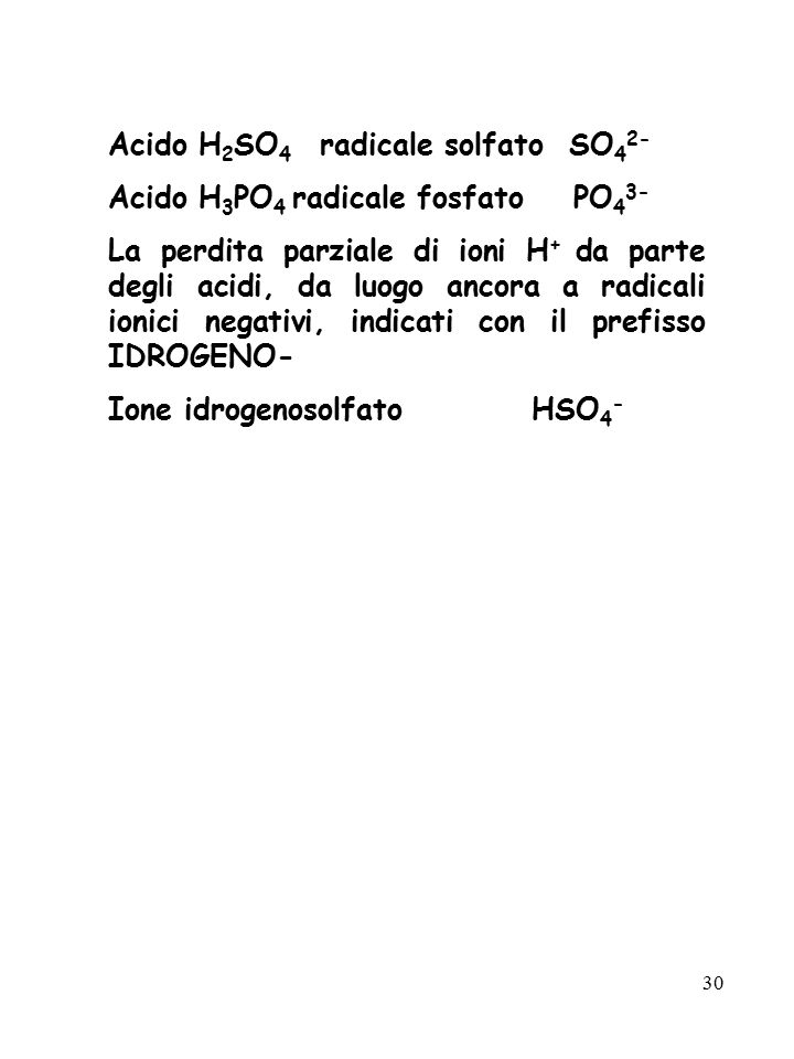 Acido H2SO4 radicale solfato SO42-
