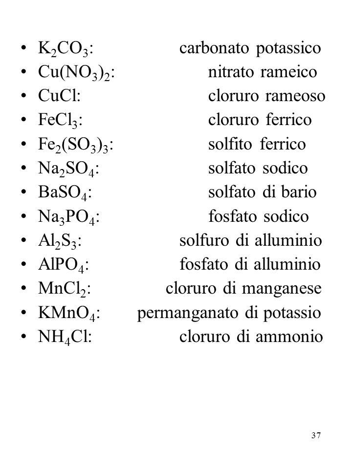 K2CO3: carbonato potassico
