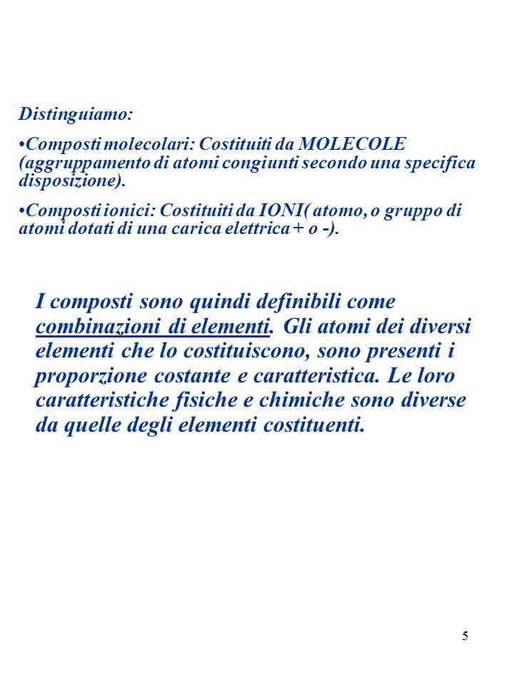 Distinguiamo: Composti molecolari: Costituiti da MOLECOLE (aggruppamento di atomi congiunti secondo una specifica disposizione).