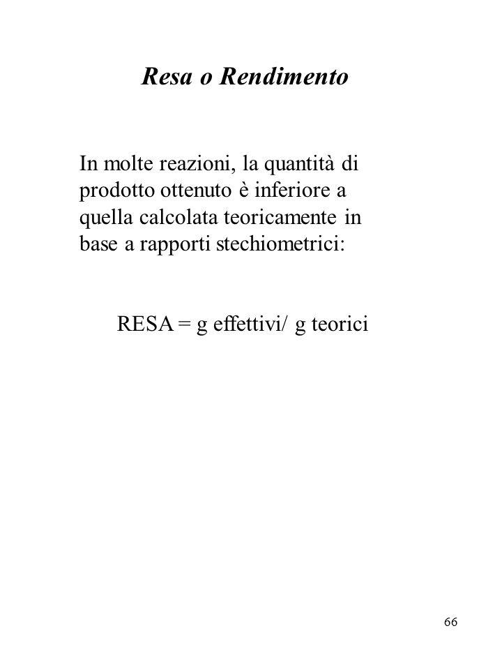 RESA = g effettivi/ g teorici