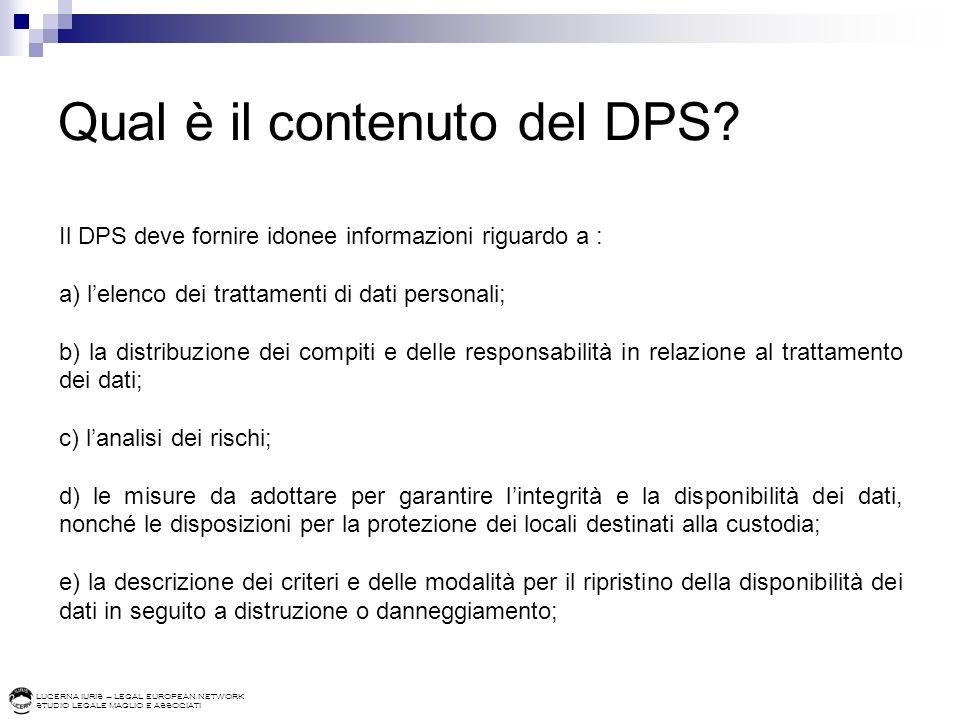 Qual è il contenuto del DPS
