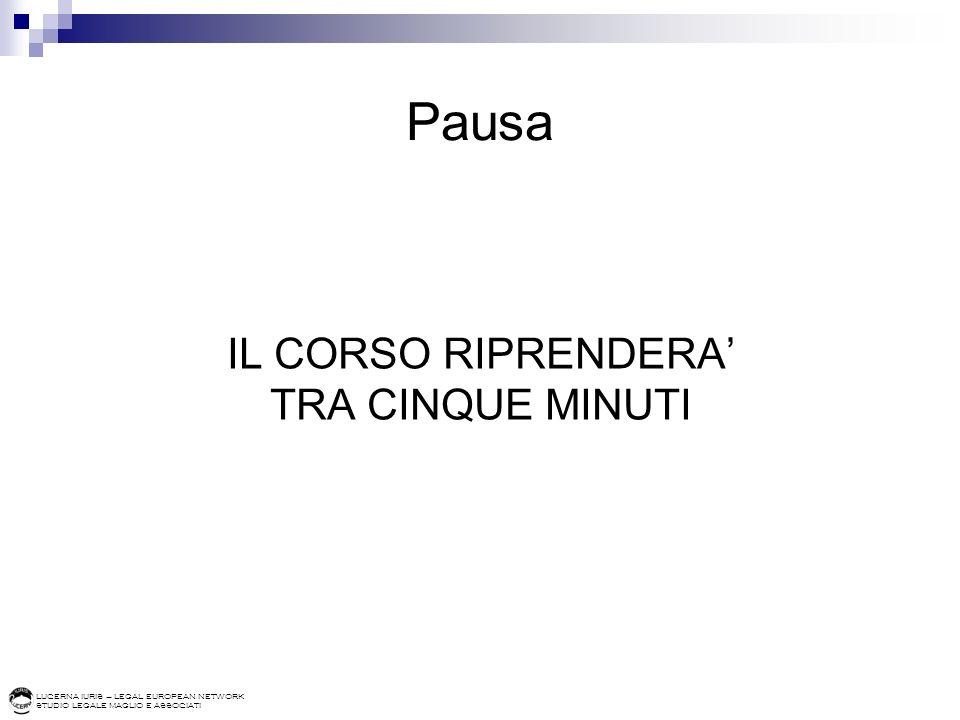 Pausa IL CORSO RIPRENDERA' TRA CINQUE MINUTI