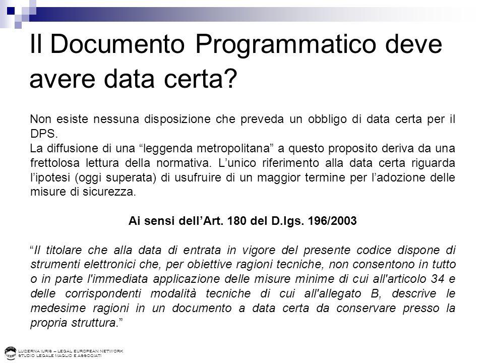 Il Documento Programmatico deve avere data certa
