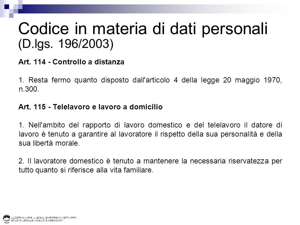 Codice in materia di dati personali (D.lgs. 196/2003)
